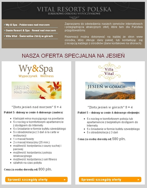 e-Mail marketing hotelowy - Newsletter ofertowy Vital Resorts Polska